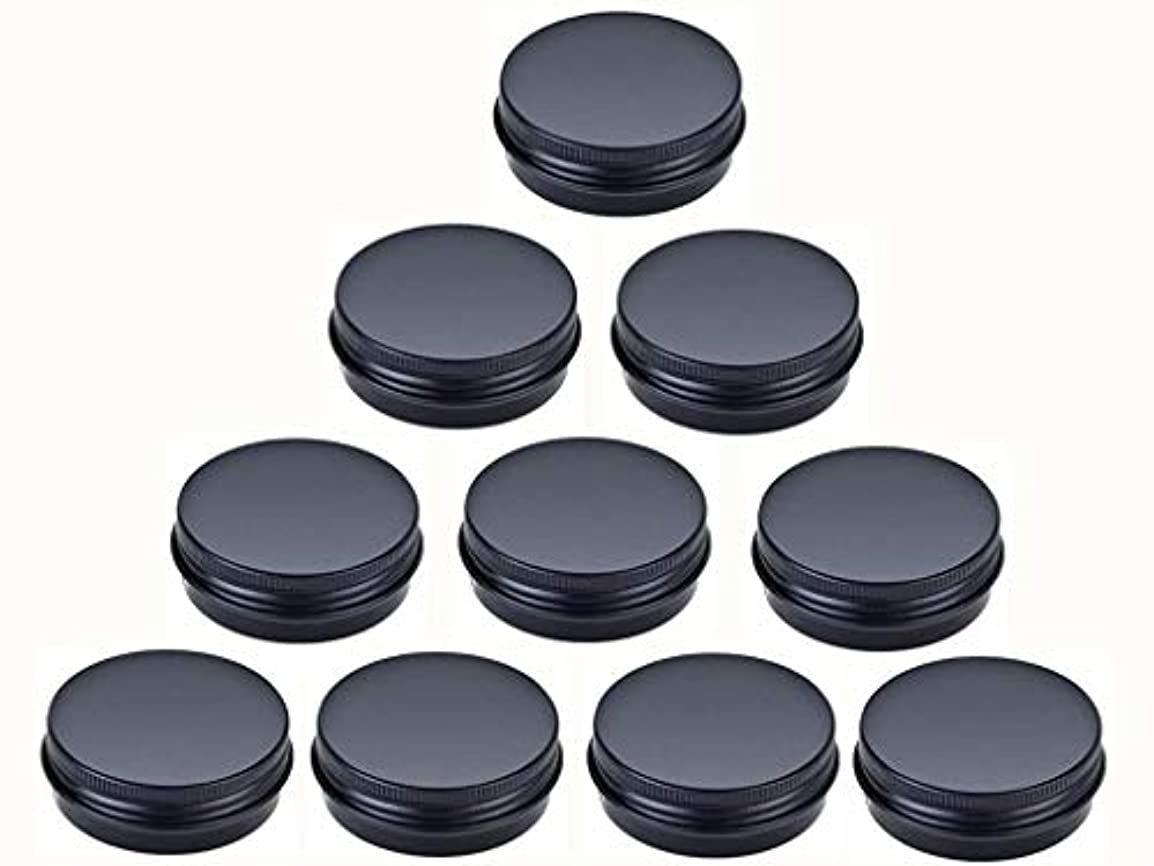 その間発音有効なjklcom Aluminum Metal Tin 1oz、ブラックアルミTins Round Tin缶コンテナwith Screw Top Lid