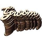 Fenteer 木製タグ 木製小物 英文字 パーティー装飾 DIY 木製 テーブル紙吹雪 15枚 多仕様選べ - Groom