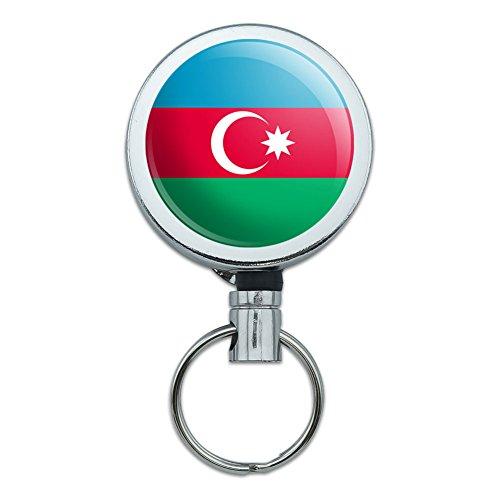 アゼルバイジャン国立国旗リトラクタブルベルトクリップバッジキーホルダー