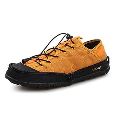 Phoenix's Shop おしゃれ 男女兼用 軽量 携帯 アウトドアシューズ ファスナー付き折りたたみ式 運動スポーツシューズ 大きいサイズ トレッキング シューズ 防滑 登山靴 (23.0cm, 黄色)