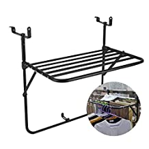 PENGFEI Attachable Railing Hanging Balcony Folding Table, Outdoor Deck Table, Children's Desk Adjustable Heights, Avoid Installation (Color : Black)