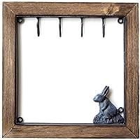 フック 壁 キーフック 鍵掛け 壁掛け 壁飾り アイアン 木製 ウサギ 雑貨 壁掛け インテリア アンティーク レトロ おしゃれ アイアンとウッドのキーフック ウサギ [swa8099]