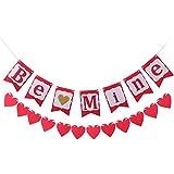 Amosfun バレンタインデー バナー ガーランド be mine ハート 告白 プロポーズ 結婚式用品 写真背景