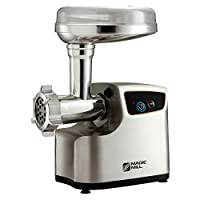 Magic Mill heavy Duty Electric Meat Grinder and Tomato juicer, 3 Grinding Blades, 3 size sausage Stufing Tubes and Cubbe attachment by Magic Mill
