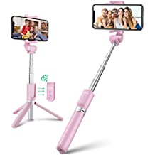 Wireless Selfie Stick Tripod with Remote for iphoneX 6 6s 7 8 plus Android Samsung Galaxy S7 S8 Plus Edge BlitzWolf 3 in 1 Mini Pocket Extendable Monopod 3.0 Aluminum Alloy 360 Degree Rotation Best Gifts (Pink)