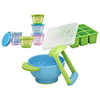 NUK Stack & Store Cups with Baby Food Flexible Freezer Tray and Mash & Serve Bowl Set by NUK