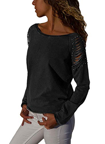Womens Hollow Out Cold Shoulder Long Sleeve Solid Tops and Blouses
