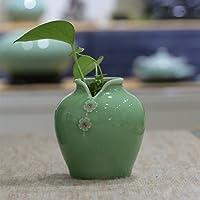 XIAOYAN 小さなセラミック磁器プラムCheongsam花瓶手作りの工芸品ドライフラワー植物ポットは、オフィスの家庭用ダイニングテーブルの装飾を飾る(3色オプション) (色 : Plum green)