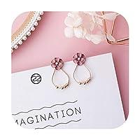 トレンディな日本の韓国の女の子かわいいイヤリングシンプルなピンクの甘い生地の花のイヤリング,Style-22