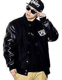 (ディーオーピー) DOP スタジャン メンズ メルトンジャケット PUレザー袖 中綿入り マリア刺繍 大きいサイズ b系 ストリート系