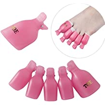10pcs Wearable Toenail Soaker Clip Caps UV Gel Polish Remover Clamp Manicure Easy Remove Lacquer Tips Wrap Tool Pink