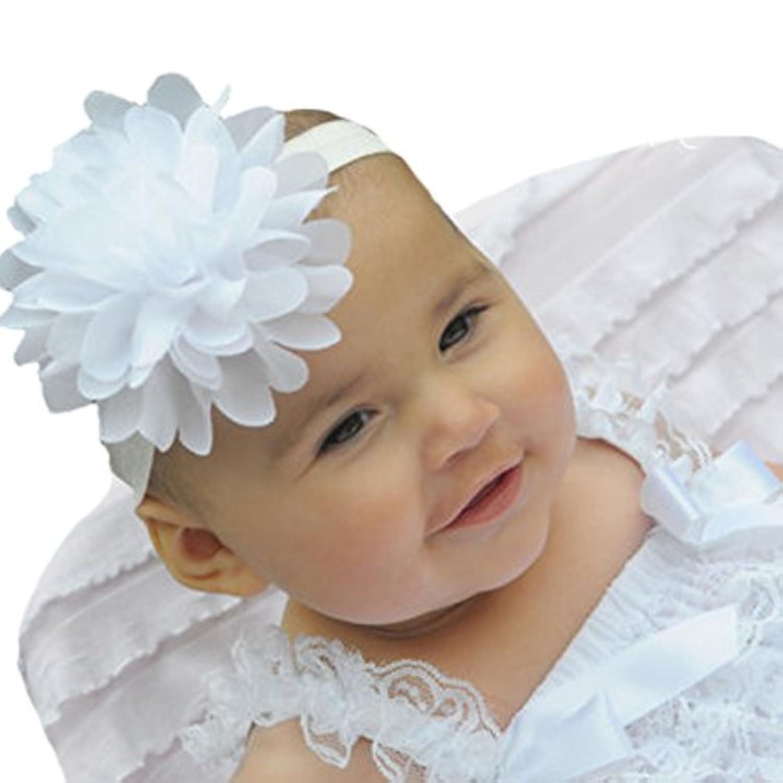 miugleベビーかわいいヘッドバンドホワイトシフォンヘアリボン乳児幼児女の子ヘアバンド