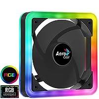 Aerocool Edge ARGB PC冷却ファン140mm、レインボーLED、デュアルリング、油圧ベアリング、7ブレードファン、3ピンAURAコネクタ、Asus Aura Sync、MSI Mystic Light SyncおよびGigabyte RGB Fusion |ブラック