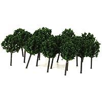 SONONIA 約100本 1/300 モデル 鉄道模型用 樹木 ツリー モデルの木 DIY ダークグリーン