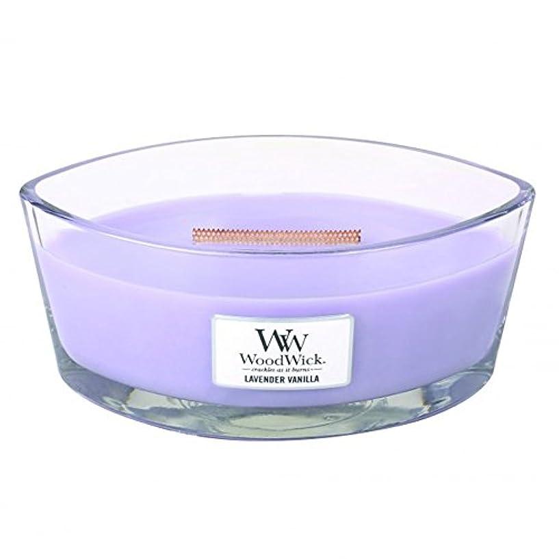 魅力パニック親愛なWoodWick ハースウィック フレイム 香り付きキャンドル ラベンダーバニラ 大型