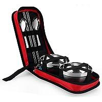 QD-SGMP 6イン1食器セット テンレススチール製 ウル スプーン 箸セット BBQ ピクニック キャンプ 登山 海釣り 旅行用 携帯便利 収納バッグ付き