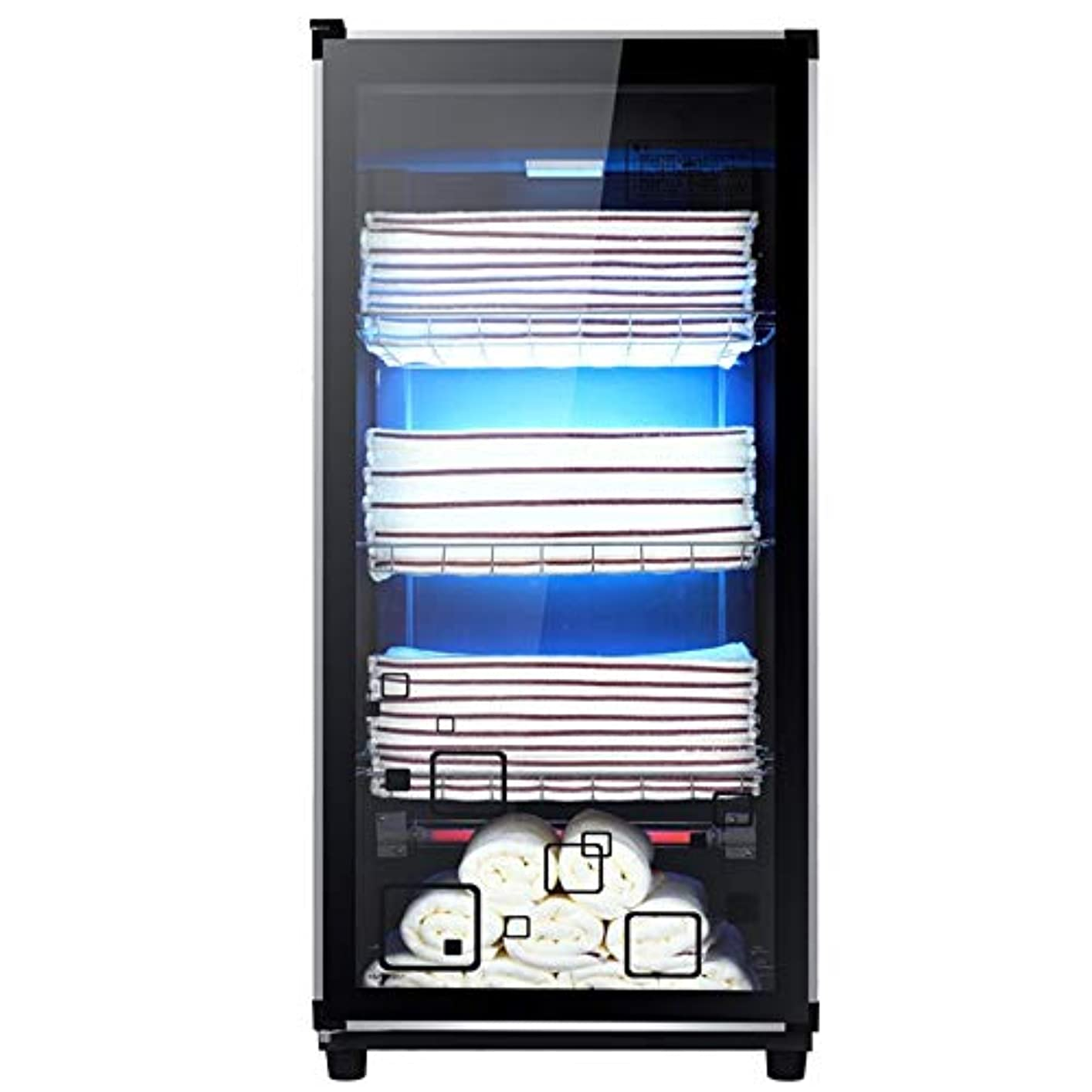 つば平方効能ある3 in 1 UVオゾン滅菌器キャビネットホットタオルウォーマーキャビネットウェットタオルヒーター、レストランサロン用スパマッサージヘアビューティー(4層)