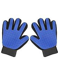 ペットグルーミンググローブ-ペットヘアリムーバー両面手袋シリコーン5本指マッサージブラシ-動物の美しさ脱毛器-猫と犬のためのロングとショート毛皮のために適しています (1 ペア)