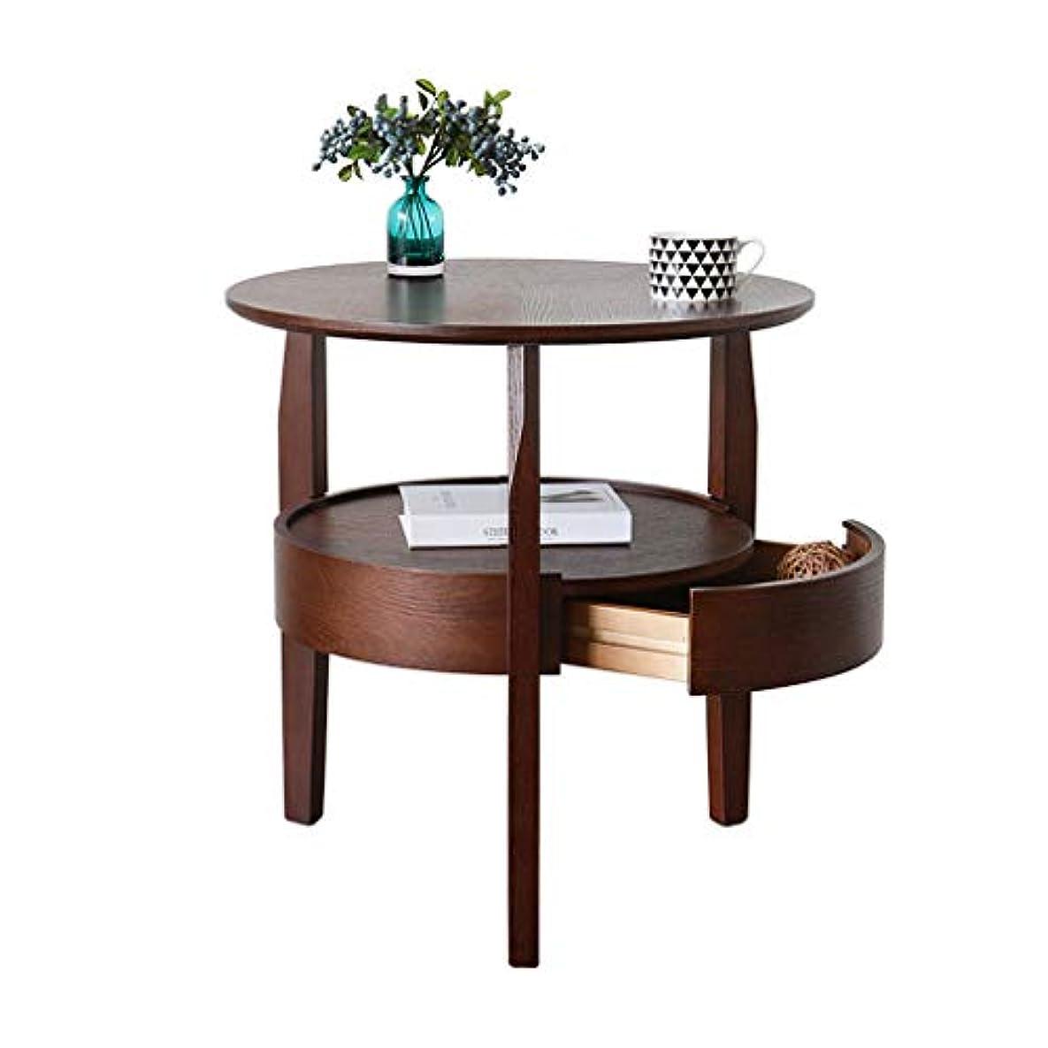 法律生きるじゃないHY ラウンドウッドエンドテーブルリビングルームソファサイドコーヒーテーブル収納棚付き多目的ナイトテーブル (サイズ さいず : L50CMXW50CMXH50CM)