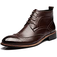 shangruiqi Men's Shoes Lace Up Breathable Oxfords High Top Ankle Boots for Gentlemen Abrasion Resistant ( Color : Brown , Size : 8 UK )