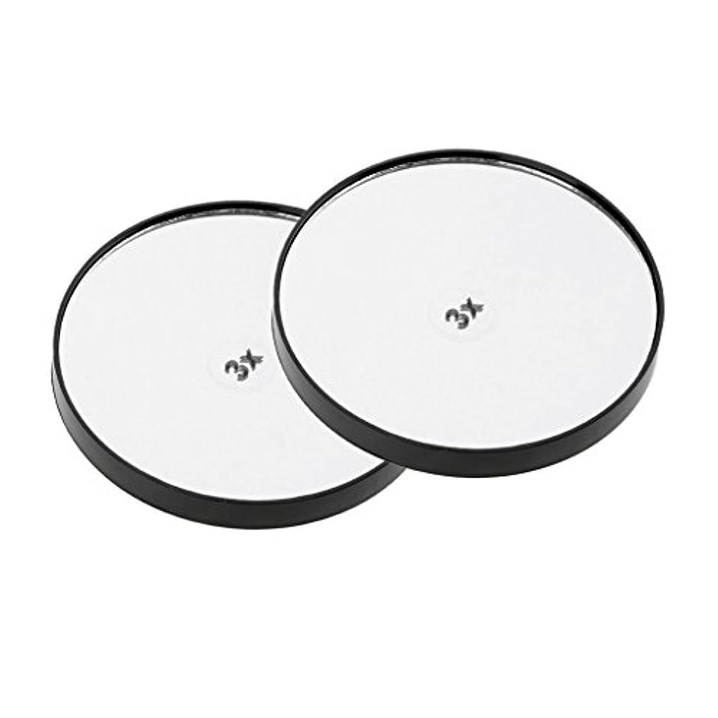回転結晶誘惑するメイクアップミラー 化粧鏡 壁吸引ミラー 2個 サクションメイクミラー - 3倍拡大