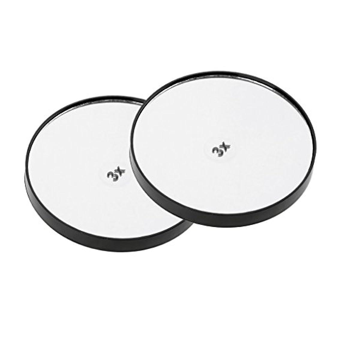 グレードパッチパトロールメイクアップミラー 化粧鏡 壁吸引ミラー 2個 サクションメイクミラー - 3倍拡大