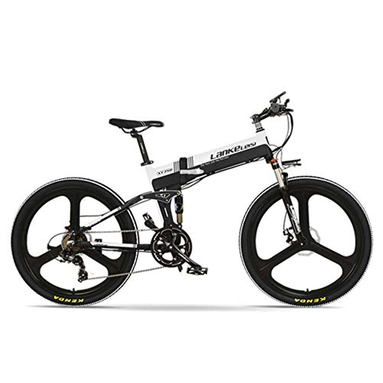 輝度モックジョイントXT750-E 26インチ折りたたみ自転車、フロント&リアディスクブレーキ、48V 400Wモーター、長寿命、LCDディスプレイ付き、ペダルアシスト自転車 (黑白, 14.5Ah)