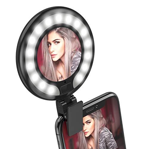 FEGEGO自撮りLEDリングライト,夜間写真撮影 光補充ライトLED緊急照明完璧軽量 明るさ調節でき USB充電クリップ式