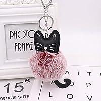 マススタカーキーリング雪の毛皮のキーホルダーウサギの毛皮のボールのキーチェーン黒猫の頭の人形キーホルダー動物のポンポンのペンダントチャームジュエリー