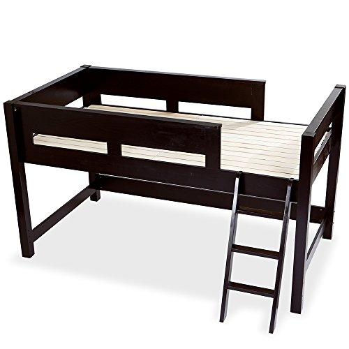 木製 天然木 ベッド ロフトベッド システムベッド はしご すのこ板 ミドルタイプ ダークブラウン