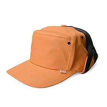 スタジオトムス HALLO SUPLLY 帽子 男女兼用 メンズ レディース HELMET WAP RIP リップストップ 耳付きキャップ あご紐 (オレンジ)