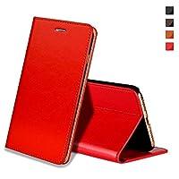 EATCYE iPhone XSケース、キックスタンド付きプレミアム本革手作りフリップケースフィーチャーカードスロットiPhone XS用赤の磁気閉鎖 - レッド