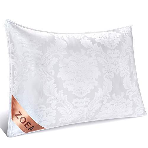 Zoea枕 安眠 人気 肩こり(55%シルクと45%綿/良い通気性/高級ホテル仕様/丸洗い可能/高さ調整可能)滑らかで艶あり快眠枕 横向き 頭痛改善 頚椎サポート抗菌 高反発枕