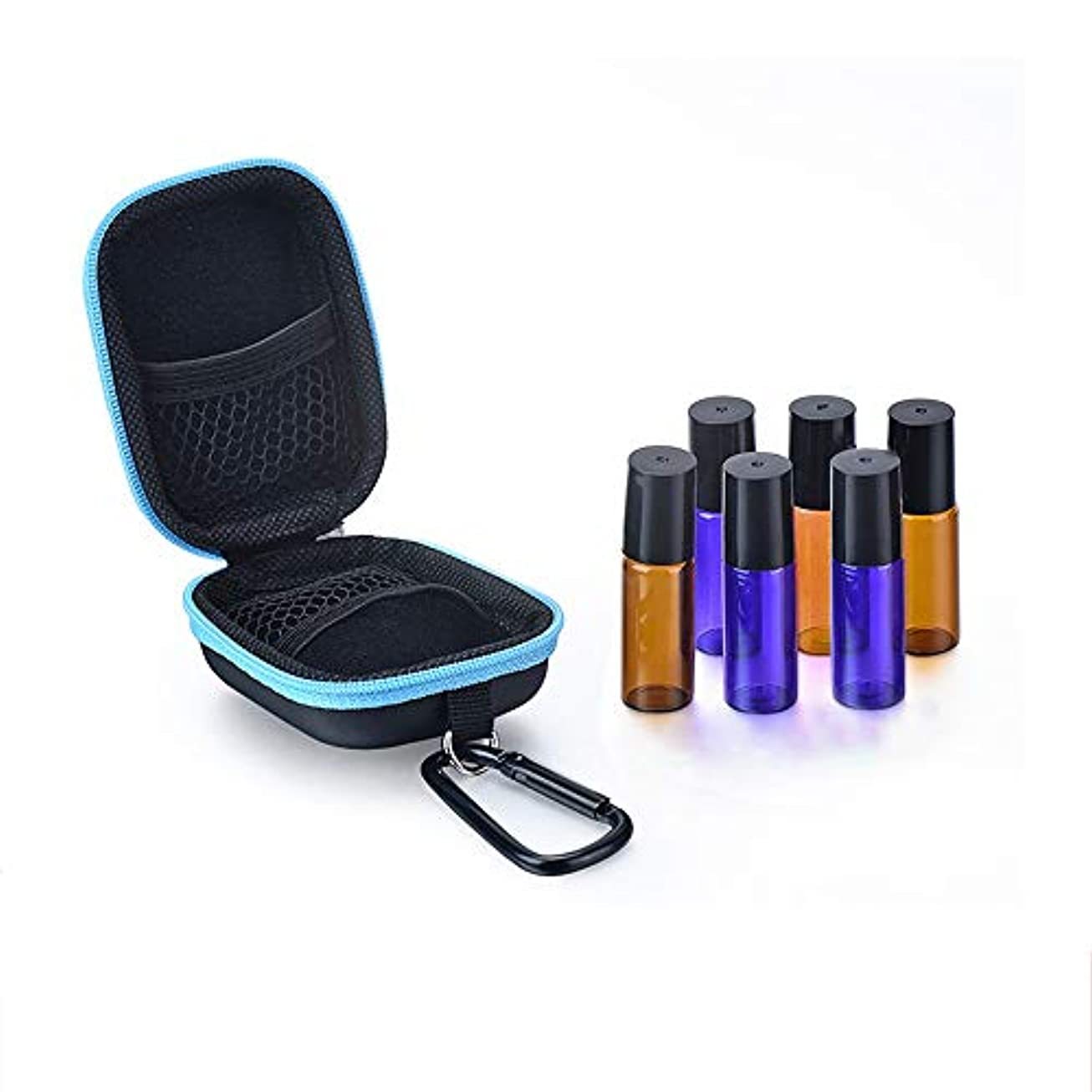 顔料悪因子区別エッセンシャルオイル収納ボックス 2-5Mlバイアルを保持ボトル用キャリングケースエッセンシャルオイルの収納ケース旅行エッセンシャルオイル (色 : 青, サイズ : 8.5X6.5X4CM)