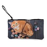 イースターエッグと木の上のバスケットに猫小銭入れ マネークリップ 財布 キャンバスコインケース 薄型 大容量 私のためのポーチとケース カード収納 パスケースにも/ギフトボックスセット 人気 コインケース カードケース 札入れ ファスナー