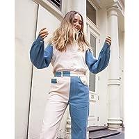 The Drop Women's Tri-Color Blocked Long Sleeve Button Down Shirt by @viktoria.dahlberg