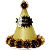 Perfeclan 誕生日帽子 誕生日キャップ ボール 紙製 ポンポン 写真撮影小物 お祝い 多色選べ - ゴールド