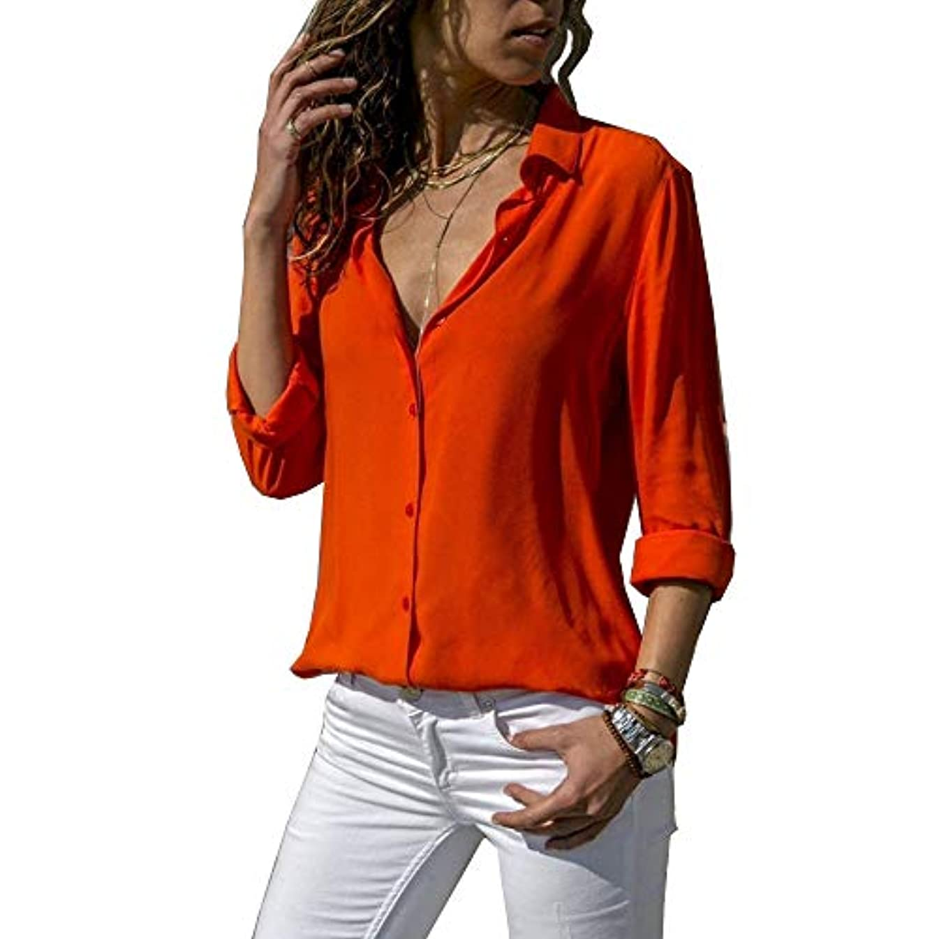 厳今雄弁MIFAN ルーズシャツ、トップス&Tシャツ、プラスサイズ、トップス&ブラウス、シフォンブラウス、女性トップス、シフォンシャツ