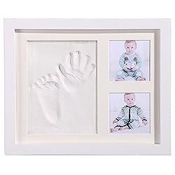赤ちゃんの手形、PChero 綺麗なベビーフレーム記念品、足形フレーム、プライスレスなメモリ、アクリルガラスと安全な非毒性の粘土、良品質の木製フレーム、男女通用、赤ちゃんのための完全なギフト - ホワイト