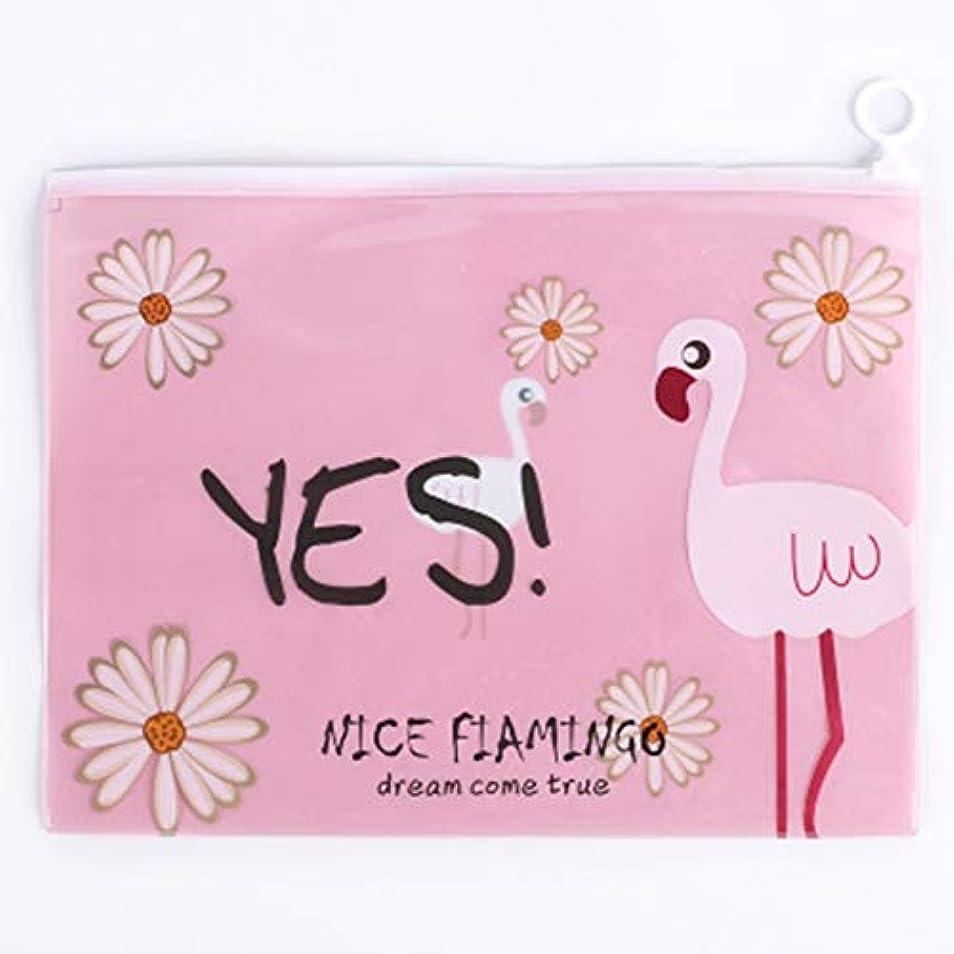 人妻包括的wijaso ユニークなクリアクリアフラミンゴ化粧品バッグ化粧ポーチ学生かわいい鉛筆紙保管バッグ旅行必要なトイレタリーケース(None 1)