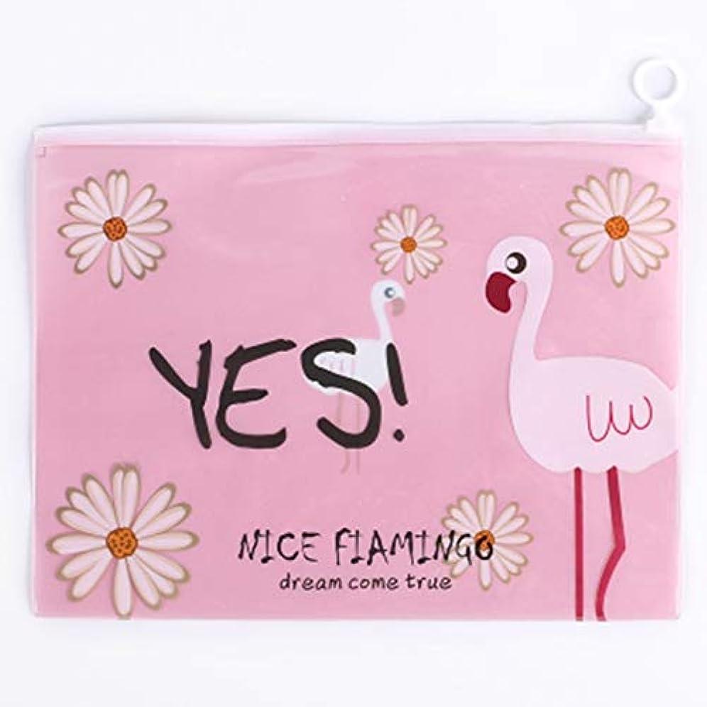 議会の見つけたwijaso ユニークなクリアクリアフラミンゴ化粧品バッグ化粧ポーチ学生かわいい鉛筆紙保管バッグ旅行必要なトイレタリーケース(None 1)