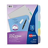 Avery Big Tab Write & Erase Durable Plastic Dividers 5 Multicolor Tabs 1 Set (16170) 【Creative Arts】 [並行輸入品]