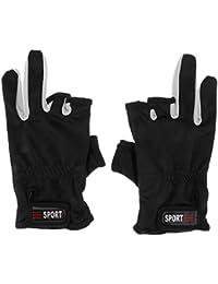 ノーブランド品 滑り止め 3ローカット フィンガー サイクリング 釣り グローブ 手袋 全5色選ぶ - ブラック