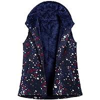 EnergyWD Women's Fleece Hoodie Linen Printed Colorful Warm Winter Vest Waistcoat