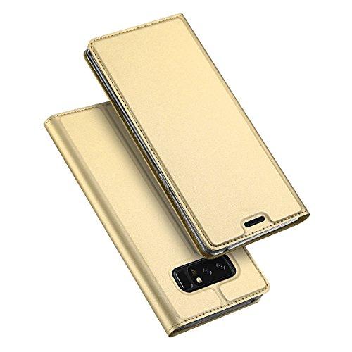Samsung Galaxy Note 8 ケース 手帳型 マグネット カード収納 スタンド機能 PUレザー TPU 耐衝撃 薄&軽 サムスン スマホケース 手帳 指紋防止 高品質 (Samsung Galaxy Note 8, ゴールド)