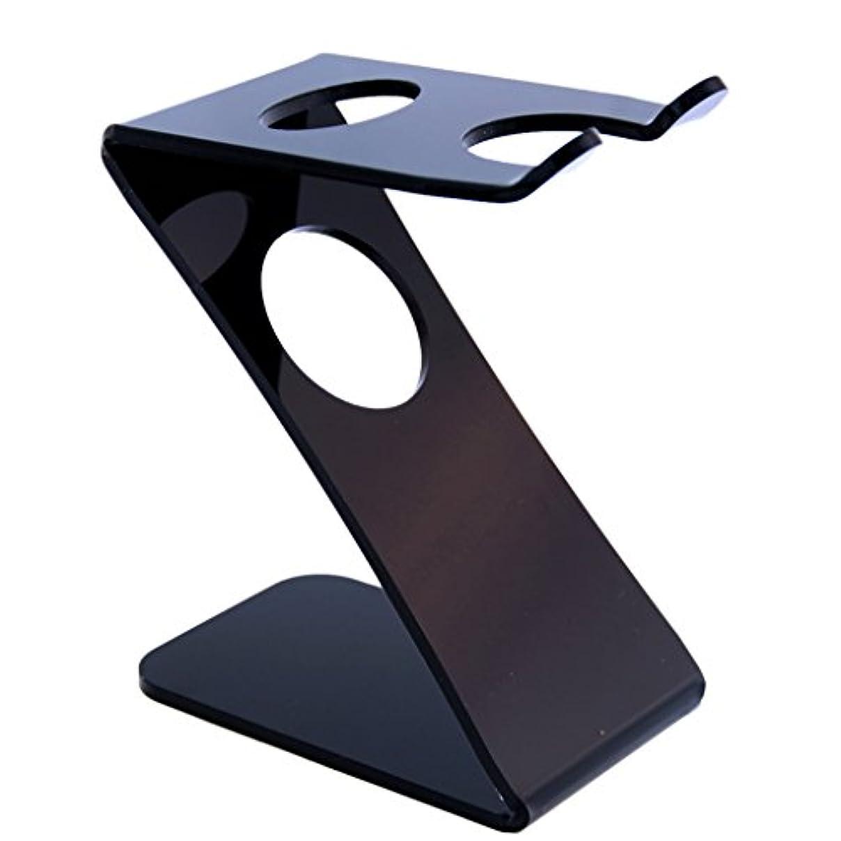 多用途レコーダーのスコアプラスチック シェービングブラシ用 髭剃り ホルダー スタンド ブラック 清潔 乾く安い