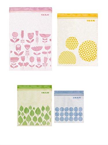 ☆2016NEW☆ IKEA ISTAD プラスチック袋 アソート 合計80ピース (ピンク&イエロー)30ピース (グリーン&ブルー) 50ピース