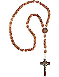 カトリック教会?聖ベネディクトのロザリオ メンズ ブラジル製ハンドメイドのウッドネックレス