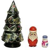 クリスマスツリーのマトリョーシカ(ツリー、サンタ、雪だるま)ロシア輸入雑貨 (ライトグリーン)