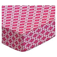 SheetWorld Fitted Pack N Play Sheet - Hot Pink Links - Made In USA by sheetworld